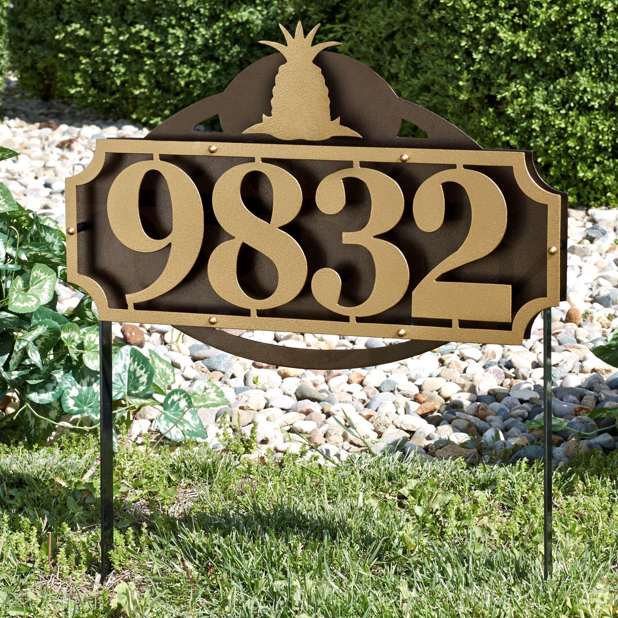 La Casa Pineapple House Number Address Sign Yard Stake