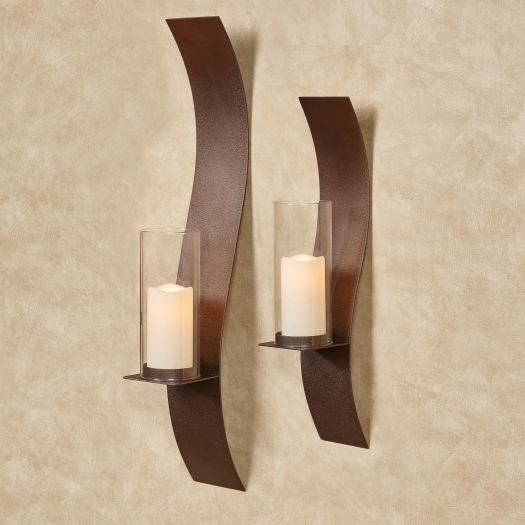 Sinuous Bronze Wall Sconce Set