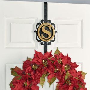Overture Monogram Wreath Hanger in Gold/Black