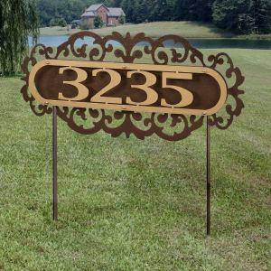 LaRoyal House Number Address Sign Yard Stake