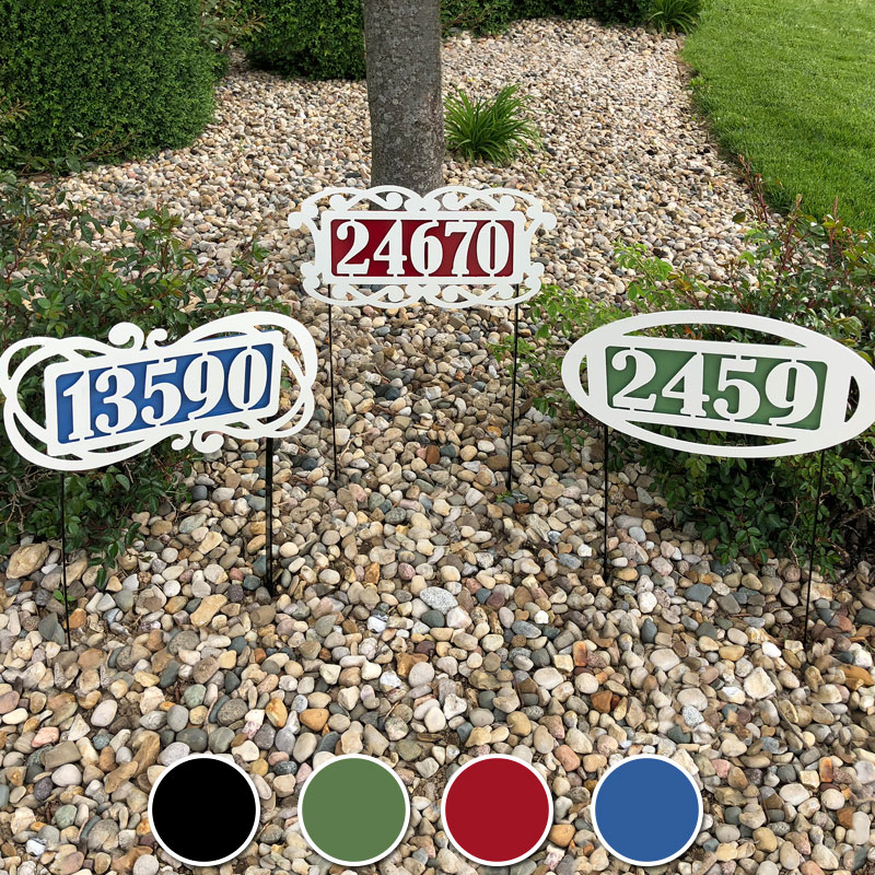 Fairway Yard Address Number Sign Stakes