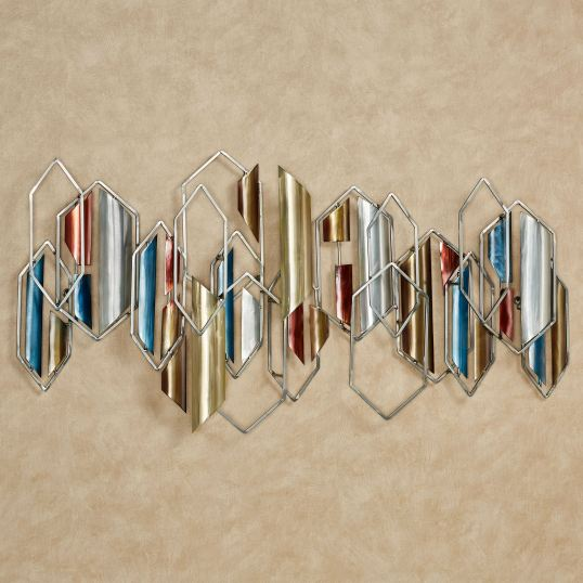 Abstract metal wall sculpture with geometric shapes