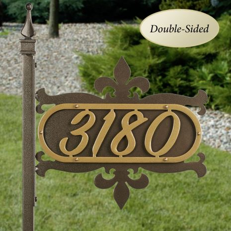 Shepherd Fleur de Lis Yard Address Number Sign Stake