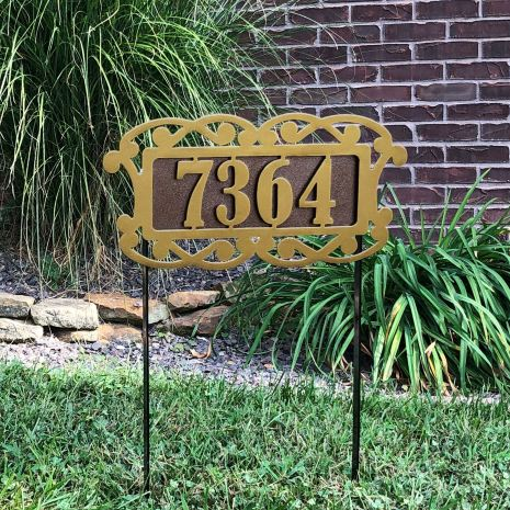 Fairway Estates Yard Address Number Sign Stake