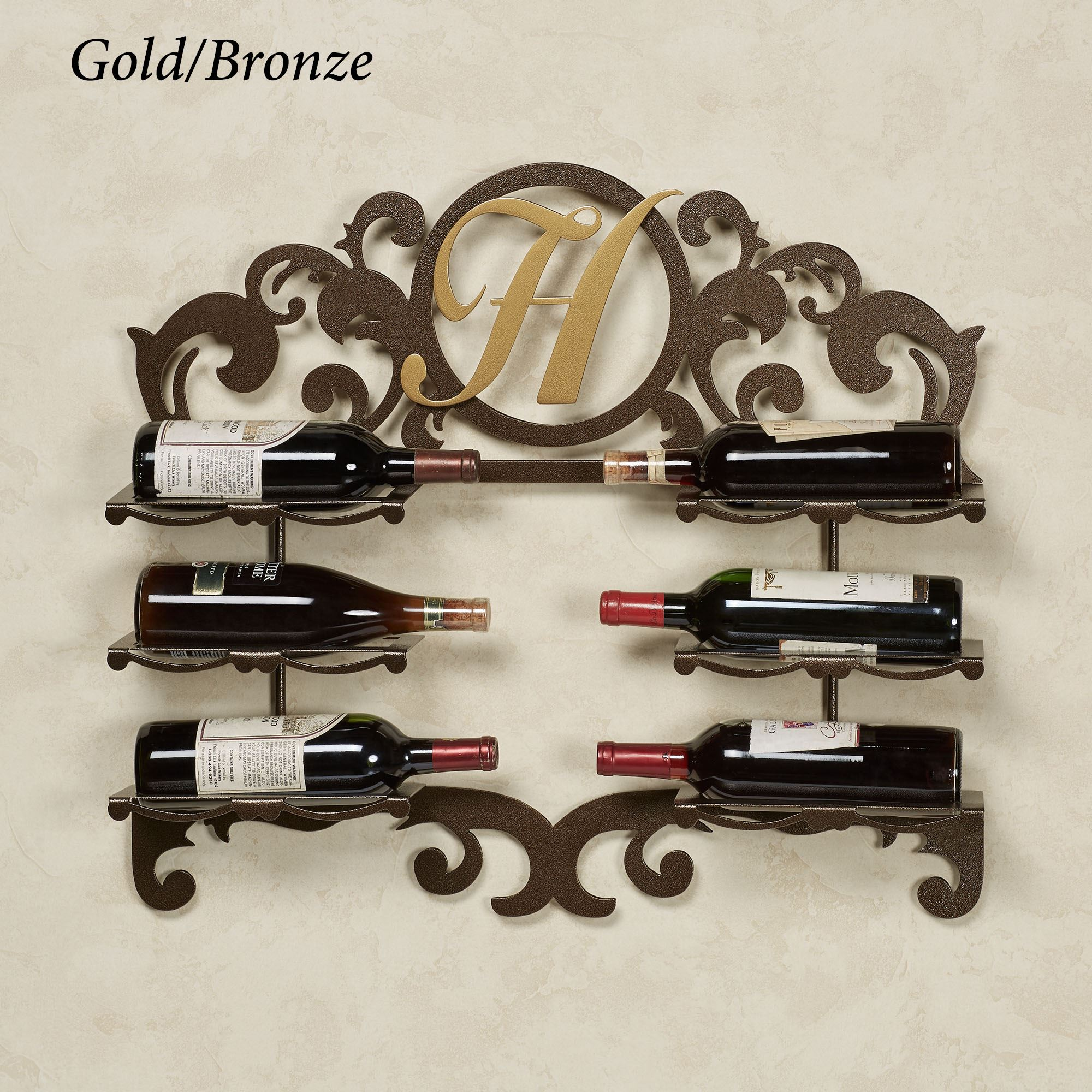 San Martin Monogram Personalized Wall Wine Bottle Rack