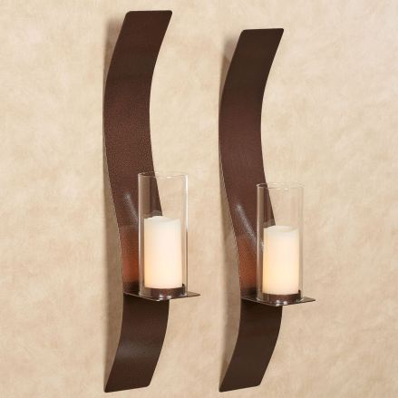 Sinuous Antique Copper Wall Sconce Pair