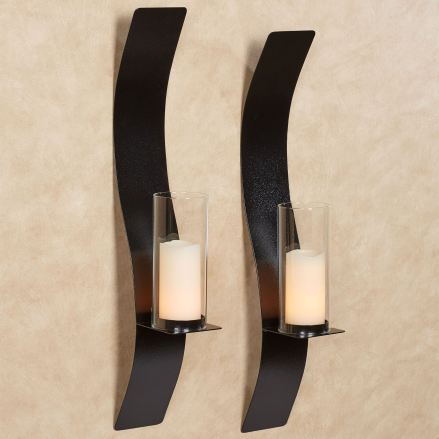 Sinuous Antique Black Wall Sconce Pair