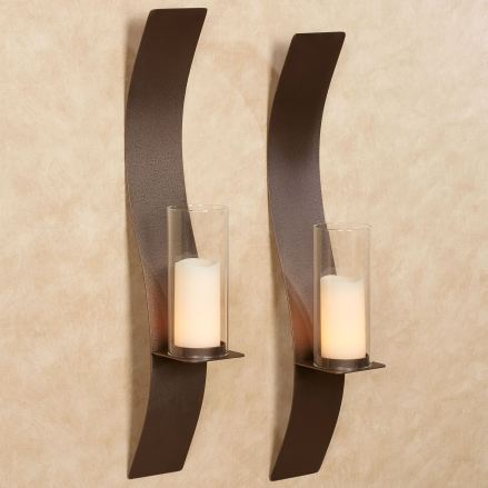 Sinuous Rich Bronze Wall Sconce Pair