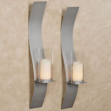 Sinuous Silver Wall Sconce Pair